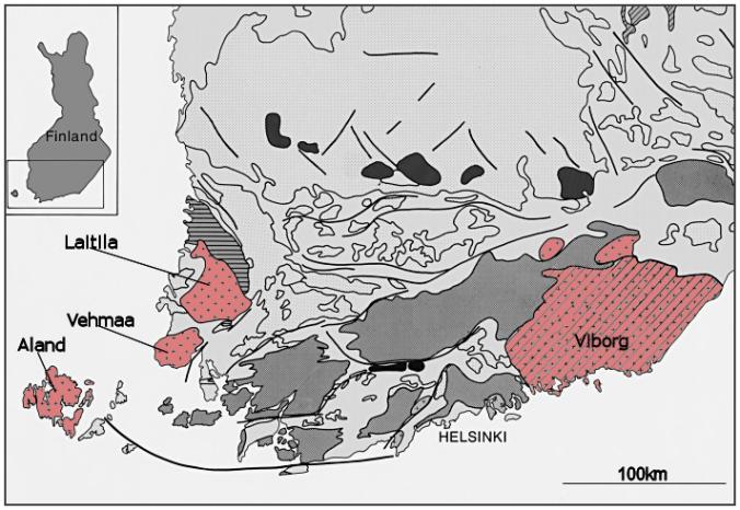 Rapakivi's komen voor in een aantal kleine en grotere massieven, die als eilanden te midden van veel oudere gesteenten liggen.