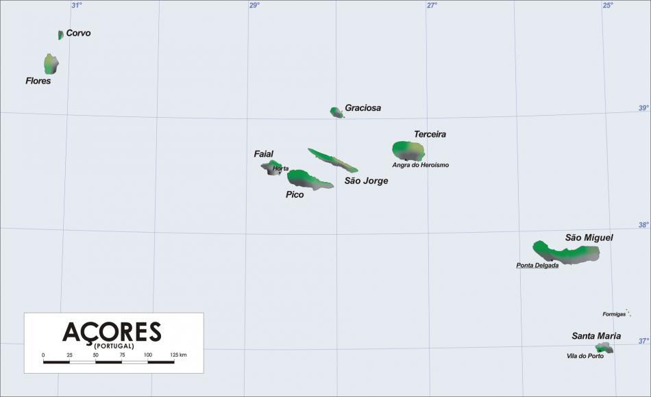 Kaart van de Azoren